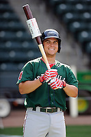 Third baseman Michael Chavis (11) of the Greenville Drive during a preseason workout on  Wednesday, April 8, 2015, the day before Opening Day, at Fluor Field at the West End in Greenville, South Carolina. (Tom Priddy/Four Seam Images)