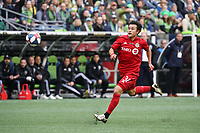 SEATTLE, WA - NOVEMBER 10: Tsubasa Endoh #31 of Toronto FC chases the ball during a game between Toronto FC and Seattle Sounders FC at CenturyLink Field on November 10, 2019 in Seattle, Washington.