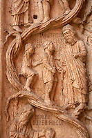 Detail of Baptistry carving  - Piazza Del Duomo - Parma Italy.