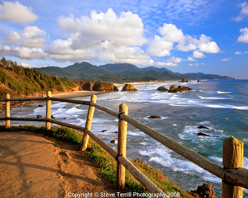 Cannon Beach bathed in evening light viewed from Ecola State Park, Oregon