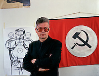 Moscow, Russia, 1996..National Bolshevik Party leader Eduard Limonov in his office at party headquarters.
