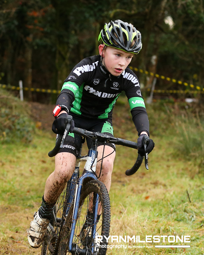 EVENT:<br /> Round 5 of the 2019 Munster CX League<br /> Drombane Cross<br /> Sunday 1st December 2019,<br /> Drombane, Co Tipperary<br /> <br /> CAPTION:<br /> Hugh Mulhearne of Carrick in action during the U14 Race<br /> <br /> Photo By: Michael P Ryan