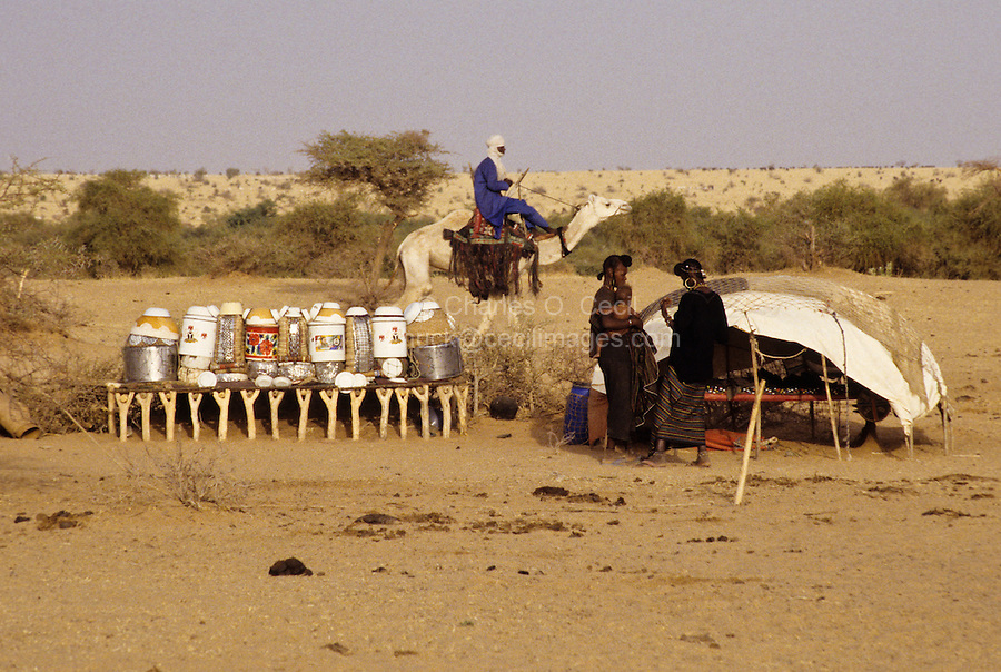 Akadaney, Central Niger, West Africa.  Fulani Nomads.  Two Fulani Women at their Sleeping Enclosure, Food Storage and Cooking Utensils on Left.  Man Passing by on Camel.