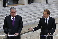 President of Tajikistan Emomali Rahmon and French President Emmanuel Macron speak to the press during a visit at The Elysee Presidential Palace in Paris. 13.10.2021 . Credit: Action Press/MediaPunch **FOR USA ONLY**