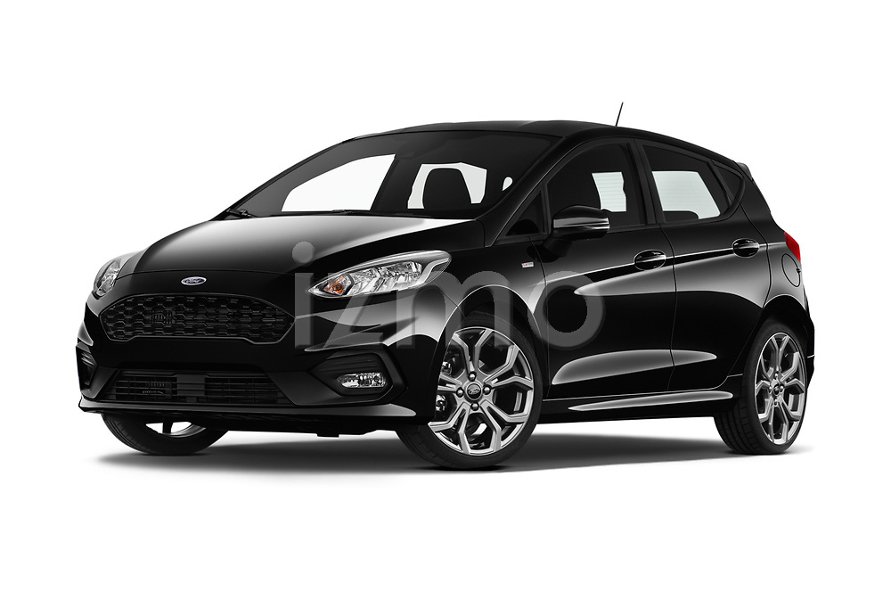 Stock pictures of low aggressive front three quarter view of a 2019 Ford Fiesta ST-Line 5 Door Hatchback