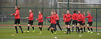 Woluwe's players  pictured during the warming up of a female soccer game between SV Zulte - Waregem and White Star Woluwe on the 9th matchday of the 2020 - 2021 season of Belgian Scooore Women s SuperLeague , saturday 12 th of December 2020  in Waregem , Belgium . PHOTO SPORTPIX.BE | SPP | DIRK VUYLSTEKE