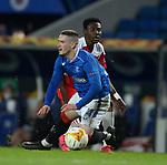 18.3.2021 Rangers v Slavia Prague: Ryan Kent fouled by Oscar Dorley