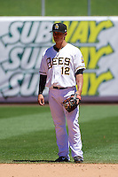 Tommy Field (12) of the Salt Lake Bees during the game against the Nashville Sounds at Smith's Ballpark on June 22, 2014 in Salt Lake City, Utah.  (Stephen Smith/Four Seam Images)