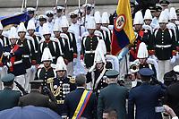 BOGOTÁ - COLOMBIA, 07-08-2018: Ivan Duque, recibe los honores militares después de tomar posesión como presidente de Colombia para el período constitucional 2018 - 22 durante ceremonia en la Plaza Bolívar el 7 de agosto de 2018 en Bogotá, Colombia. / Ivan Duque, receives the military honors after he takes office to constitutional term as president 2018 - 22 at Plaza Bolivar on August 7, 2018 in Bogota, Colombia. Photo: VizzorImage/ Gabriel Aponte / Staff