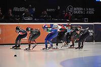 SPEEDSKATING: DORDRECHT: 06-03-2021, ISU World Short Track Speedskating Championships, SF 1500m Ladies, Aurelle Monvoisin (FRA), Florence Brunelle (CAN), Cynthia Mascitto (ITA), Natalia Maliszewska (POL), Courtney Sarault (CAN), Kristen Santos (USA), ©photo Martin de Jong