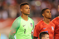 EAST RUTHERFORD, NJ - SEPTEMBER 7: Zack Steffen #1 of the United States during the presentation of the team during a game between Mexico and USMNT at MetLife Stadium on September 6, 2019 in East Rutherford, New Jersey.