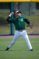 Dartmouth Big Green left fielder Michael Ketchmark (27) during practice before a game against the South Florida Bulls on March 27, 2016 at USF Baseball Stadium in Tampa, Florida.  South Florida defeated Dartmouth 4-0.  (Mike Janes/Four Seam Images)