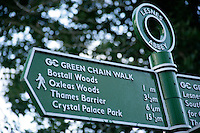 Sign for the Green Chain walk at Lesnes Abbey woods, southeast London, UK