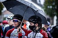 Doltcini-Van Eyck Sport riders sheltering at the race start. <br /> <br /> 4th Liège-Bastogne-Liège-Femmes 2020 (1.WWT)<br /> 1 Day Race: Bastogne – Liège 135km<br /> <br /> ©kramon