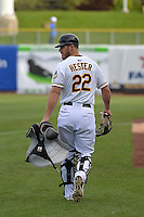 John Hester (22) of the Salt Lake Bees prior to the game against the Reno Aces at Smith's Ballpark on May 4, 2014 in Salt Lake City, Utah.  (Stephen Smith/Four Seam Images)