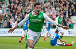 13.05.2018 Hibs v Rangers: Jamie Maclaren scores to put Hibs 3-0 up