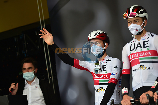 Tadej Pogacar (SLO) UAE Team Emirates at sign on before La Fleche Wallonne 2020, running 202km from Herve to Mur de Huy, Belgium. 30th September 2020.<br /> Picture: ASO/Gautier Demouveaux | Cyclefile<br /> All photos usage must carry mandatory copyright credit (© Cyclefile | ASO/Gautier Demouveaux)