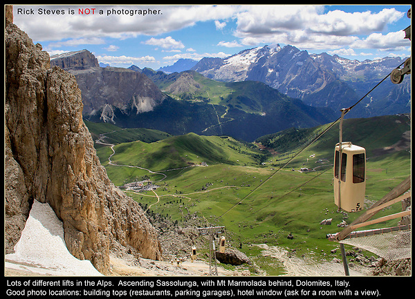 """Italy, Dolomites. The Sun's Movement.<br /> Just before we arrived in Castelrotto, I said, """"I think we're staying in the wrong town."""" I realized we'd wake-up and drive the scenic Dolomite Road east to Cortina, have lunch, and return to Castelrotto in the afternoon. <br /> The problem? In the morning, we'd drive east and into the sun to Cortina. After lunch, we'd drive west and into the sun to our hotel. It's better to drive and photograph with the sun behind you.<br /> Ascending Sassolunga rock formation with a very unique lift."""
