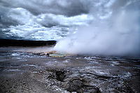 Clepsydra Geyser erupts at Yellowstone National Park, Wyoming