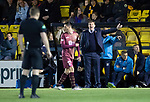 Livingston v St Johnstone…31.10.18…   Tony Macaroni Arena    SPFL<br />Tommy Wright has wordsa with referee John Beaton<br />Picture by Graeme Hart. <br />Copyright Perthshire Picture Agency<br />Tel: 01738 623350  Mobile: 07990 594431