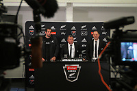 All Blacks captain Sam Whitelock (left) with head coach Ian Foster and assistant coach John Plumtree address a presser after the Steinlager Series rugby match between the New Zealand All Blacks and Tonga at Mt Smart Stadium in Auckland, New Zealand on Saturday, 3 July 2021. Photo: Dave Lintott / lintottphoto.co.nz