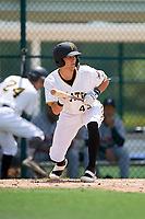 GCL Pirates catcher Ryan Haug (43) squares around to bunt during a game against the GCL Tigers West on August 13, 2018 at Pirate City Complex in Bradenton, Florida.  GCL Tigers West defeated GCL Pirates 5-1.  (Mike Janes/Four Seam Images)