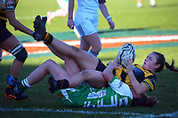 Taranaki's Kelsyn McCook is tackled during the Farah Palmer Cup women's rugby match between Manawatu Cyclones and Taranaki Whio at CET Stadium in Palmerston North, New Zealand on Saturday, 24 July 2021 Photo: Dave Lintott / lintottphoto.co.nz