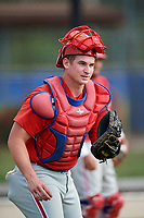 Philadelphia Phillies catcher Kipp Moore (3) during an Instructional League game against the Toronto Blue Jays on October 7, 2017 at the Englebert Complex in Dunedin, Florida.  (Mike Janes/Four Seam Images)