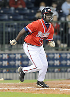 12 April 2008: Outfielder Quentin Davis (18) of the Mississippi Braves, Class AA affiliate of the Atlanta Braves, in a game against the Mobile BayBears at Trustmark Park in Pearl, Miss. Photo by:  Tom Priddy/Four Seam Images