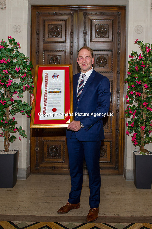 Pictured: Alun Wyn Jones is awarded the freedom of Swansea at Swansea's Guildhall, Swansea, Wales, UK. Wednesday 12 June 2019<br /> Re: Ospreys, Wales and Lions star Alun Wyn Jones has been awarded the freedom of Swansea for his achievements in rugby during a ceremony at the Guildhall in Swansea, Wales, UK.<br /> He has 134 international caps to his name; three Grand Slam titles with Wales, and has toured with the British and Irish Lions on three separate occasions.