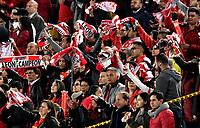 BOGOTÁ-COLOMBIA, 03-10-2019: Hinchas de Independiente Santa Fe animan a su equipo durante partido de la fecha 14 entre Independiente Santa Fe y Atlético Bucaramanga, por la Liga Águila II 2019, jugado en el estadio Nemesio Camacho El Campín de la ciudad de Bogotá. / Fans of Independiente Santa Fe cheer for their team during a match of the 14th date between Independiente Santa Fe and Atletico Bucaramanga, for the Aguila Leguaje II 2019 played at the Nemesio Camacho El Campin Stadium in Bogota city, Photo: VizzorImage / Luis Ramírez / Staff.