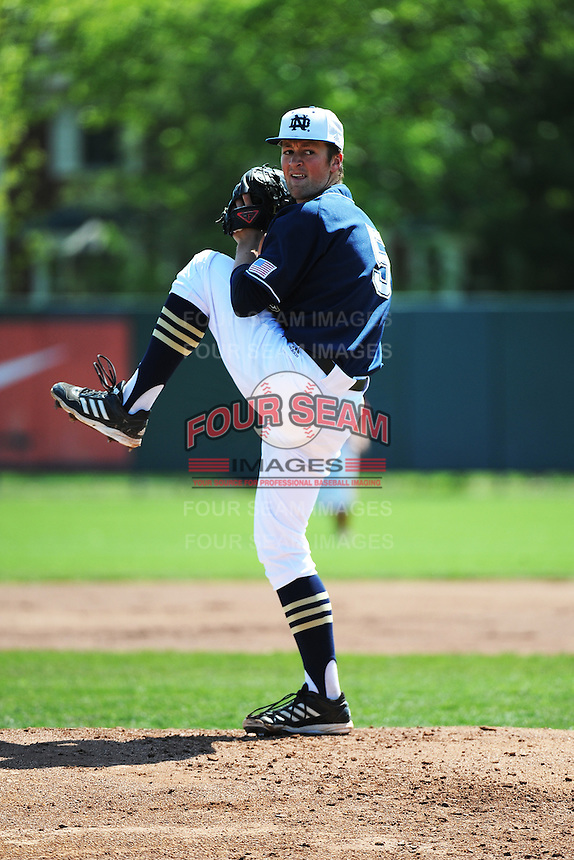 University of Notre Dame Fighting Irish pitcher Nick McCarty (5) during game against the St. John's University Redstorm at Jack Kaiser Stadium on May 12, 2013 in Queens, New York. St. John's defeated Notre Dame 2-1.      . (Tomasso DeRosa/ Four Seam Images)