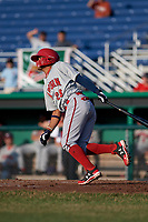 Auburn Doubledays shortstop Jose Sanchez (28) follows through on a swing during a game against the Batavia Muckdogs on June 28, 2018 at Dwyer Stadium in Batavia, New York.  Auburn defeated Batavia 14-9.  (Mike Janes/Four Seam Images)