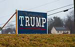 PLYMOUTH, CT-011621JS01- A Trump sign on North Harwinton Road in Plymouth that was spray painted with the word fired over it, has been repaired. <br /> Jim Shannon Republican-American