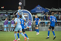 SAN JOSE, CA - MAY 22: Khiry Shelton #11 of Sporting Kansas City heads the ball during a game between San Jose Earthquakes and Sporting Kansas City at PayPal Park on May 22, 2021 in San Jose, California.
