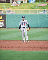 Seth Beer (8) of the Reno Aces on defense against the Salt Lake Bees at Smith's Ballpark on May 6, 2021 in Salt Lake City, Utah. The Aces defeated the Bees 5-4. (Stephen Smith/Four Seam Images)