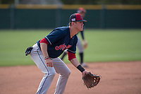 Cleveland Indians third baseman Nolan Jones (15) during a Minor League Spring Training game against the San Francisco Giants at the San Francisco Giants Training Complex on March 14, 2018 in Scottsdale, Arizona. (Zachary Lucy/Four Seam Images)