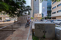Israel,Tel Aviv, Rothschild Boulevard and memorial engraved with the names of the first 66 founders families.