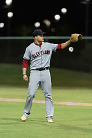 AZL Indians 2 relief pitcher Brendan Meyer (59) waits to receive the ball back from the catcher during an Arizona League game against the AZL Cubs 2 at Sloan Park on August 2, 2018 in Mesa, Arizona. The AZL Indians 2 defeated the AZL Cubs 2 by a score of 9-8. (Zachary Lucy/Four Seam Images)