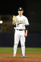 Vanderbilt Commodores pitcher Philip Pfeifer (22) gets ready to deliver a pitch during a game against the Indiana State Sycamores on February 20, 2015 at Charlotte Sports Park in Port Charlotte, Florida.  Vanderbilt defeated Indiana State 3-2.  (Mike Janes/Four Seam Images)