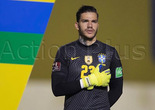 13th November 2020; Morumbi Stadium, Sao Paulo, Sao Paulo, Brazil; World Cup 2022 qualifiers; Brazil versus Venezuela;  Ederson of Brazil during the anthems