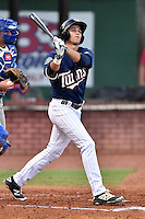 Elizabethton Twins right fielder Alex Kirilloff (30) swings at a pitch during game against the Burlington Royals at Joe O'Brien Field on August 24, 2016 in Elizabethton, Tennessee. The Royals defeated the Twins 8-3. (Tony Farlow/Four Seam Images)