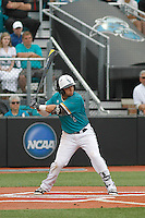 University of Coastal Carolina Chanticleers shortstop Michael Paez (1) at bat during a game against the University of Virginia Cavaliers at Springs Brooks Stadium on February 21, 2016 in Conway, South Carolina. Coastal Carolina defeated Virginia 5-4. (Robert Gurganus/Four Seam Images)