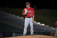 AZL Angels relief pitcher Cody Eckerson (56) looks to his catcher for the sign during an Arizona League game against the AZL Athletics at Tempe Diablo Stadium on June 26, 2018 in Tempe, Arizona. The AZL Athletics defeated the AZL Angels 7-1. (Zachary Lucy/Four Seam Images)