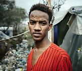 Shafi, 20, seit 5 Monaten im Camp, aus Mogadishu, Somaliland; klagt über Gewalt im Lager;