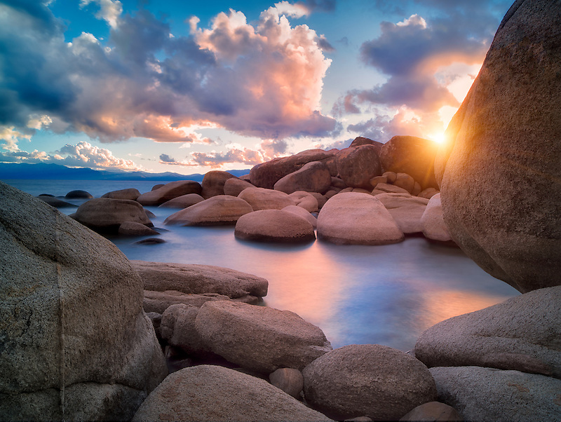 Storm clouds and granite boulders on east side of Lake Tahoe, Nevada