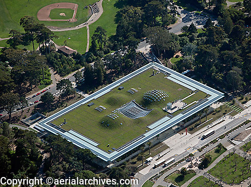 aerial photograph the green roof at the California Academy of Sciences Museum, Golden Gate Park, San Francisco, California