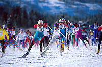 Nordic skiers; cross country competition. Vail, Colorado.