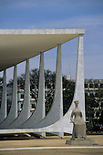 Brasilia, Brazil. Supreme Court (Palace of Justice) by Oscar Niemeyer (architect) with statue of Justice.