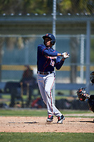 Minnesota Twins Wander Javier (19) during a minor league Spring Training game against the Baltimore Orioles on March 17, 2017 at the Buck O'Neil Baseball Complex in Sarasota, Florida.  (Mike Janes/Four Seam Images)